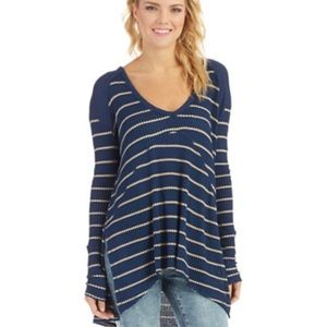 Free People Sunset Park Thermal tan and navy blue